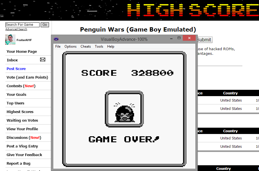 FosterAMF: Penguin Wars (Game Boy Emulated) 328,800 points on 2015-01-15 20:42:00
