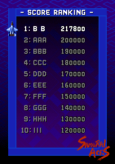 BarryBloso: Samurai Aces [samuraia] (Arcade Emulated / M.A.M.E.) 217,800 points on 2015-01-17 04:54:11