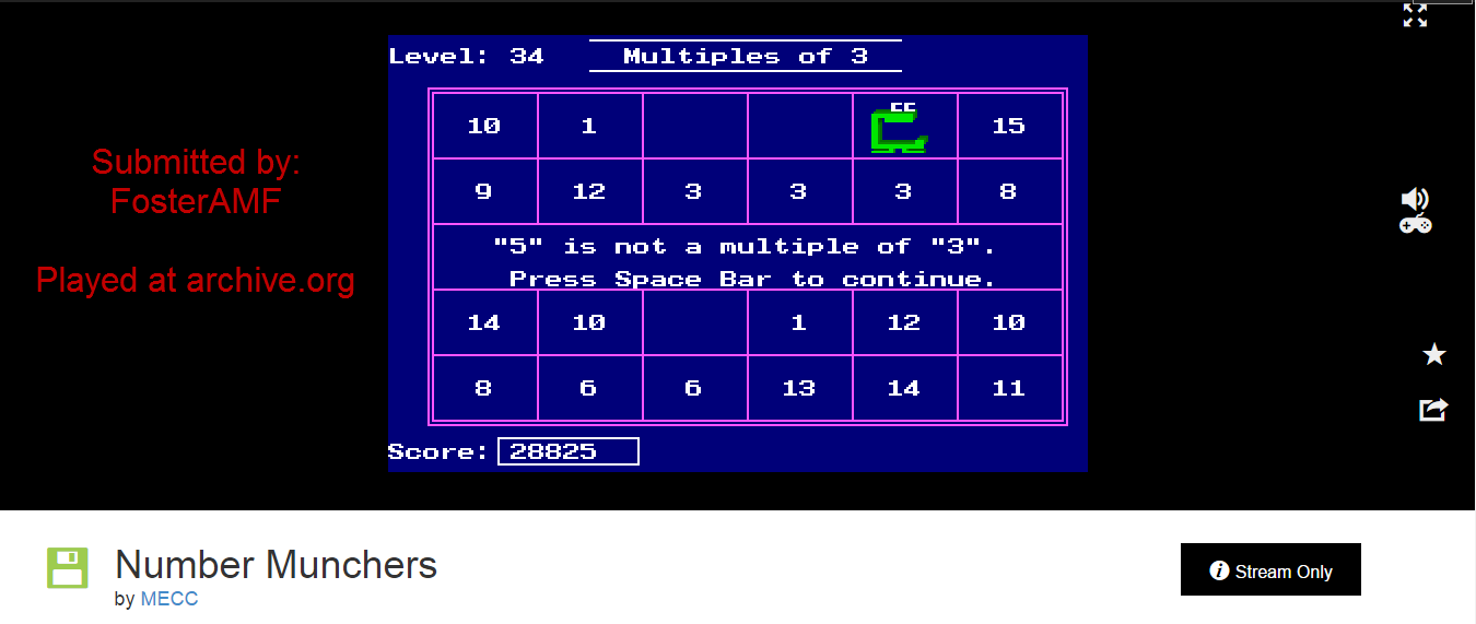 FosterAMF: Number Munchers: Factors [3rd Grade Advanced] (PC Emulated / DOSBox) 28,825 points on 2015-01-17 18:57:51
