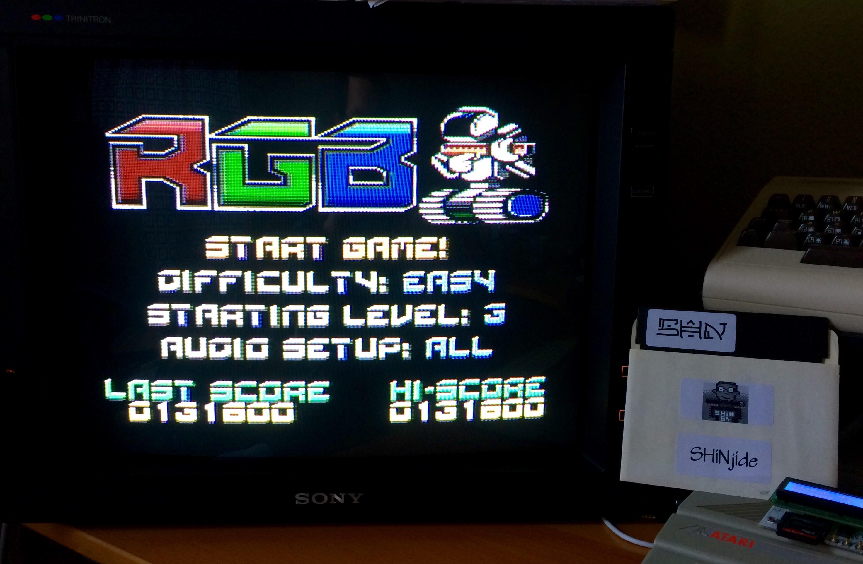 SHiNjide: RGB (Atari 400/800/XL/XE) 131,600 points on 2015-01-18 05:53:12