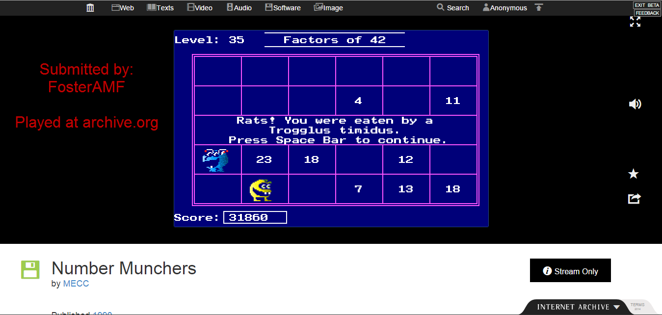 FosterAMF: Number Munchers: Factors [4th Grade Advanced] (PC Emulated / DOSBox) 31,860 points on 2015-01-19 17:34:15