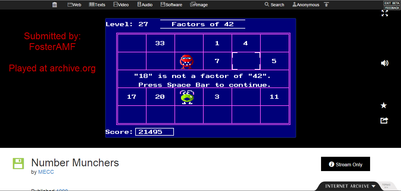 FosterAMF: Number Munchers: Factors [5th Grade Advanced] (PC Emulated / DOSBox) 21,495 points on 2015-01-19 20:57:18
