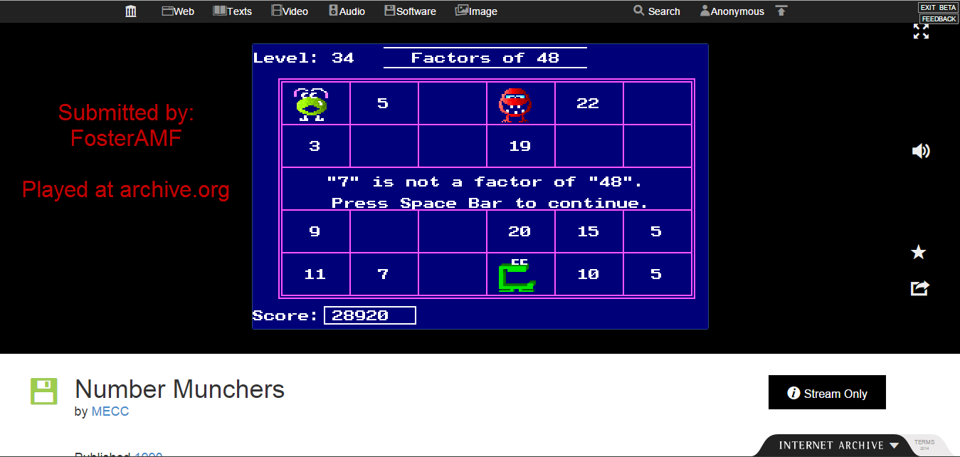FosterAMF: Number Munchers: Factors [6th Grade Advanced] (PC Emulated / DOSBox) 28,920 points on 2015-01-21 14:18:28