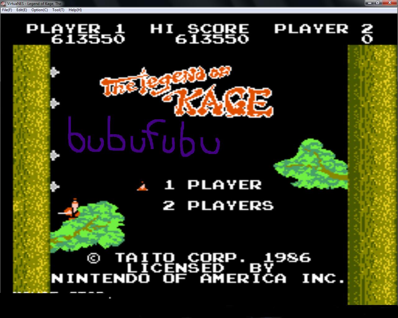bubufubu: The Legend of Kage (NES/Famicom Emulated) 613,550 points on 2015-01-21 16:28:34