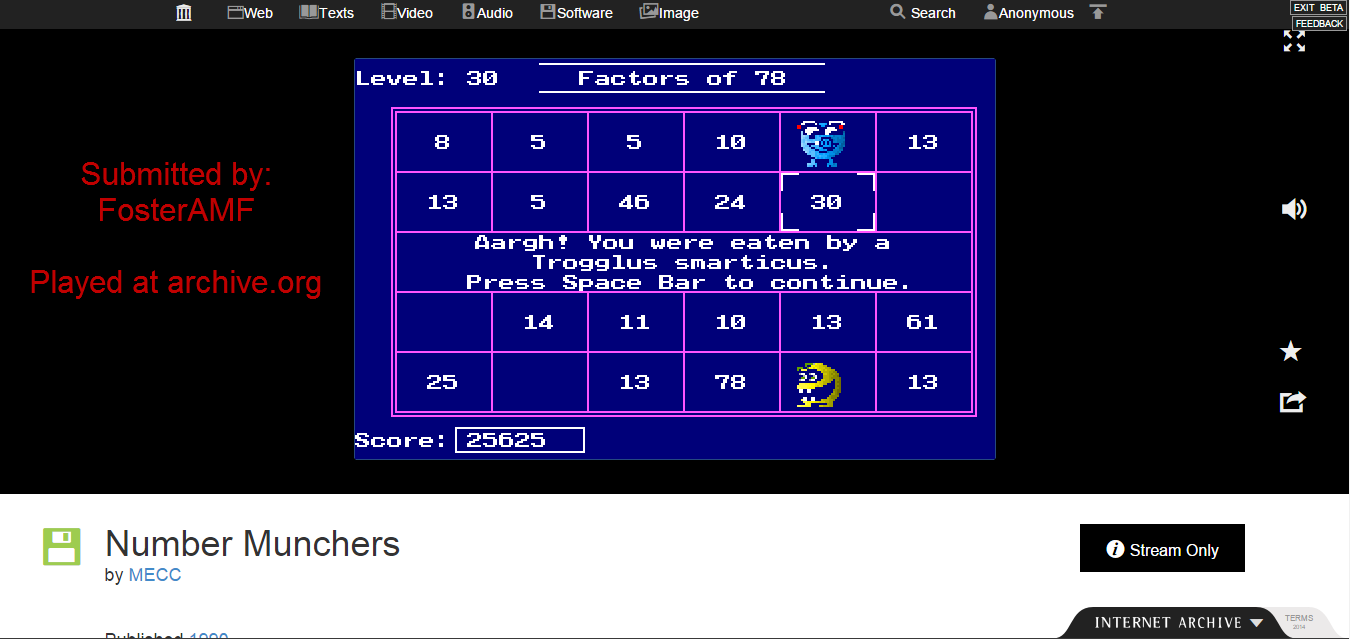 FosterAMF: Number Munchers: Factors [7th Grade Advanced] (PC Emulated / DOSBox) 25,625 points on 2015-01-21 18:49:16