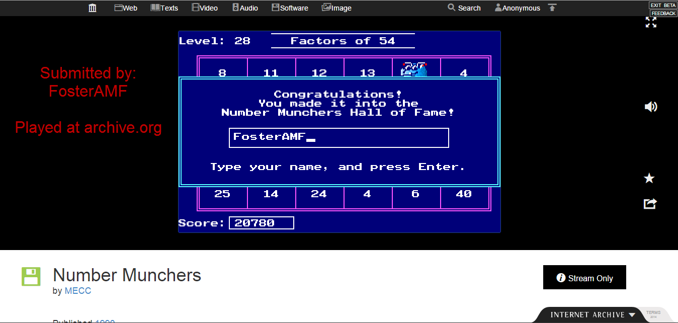FosterAMF: Number Munchers: Factors [8th Grade and Above] (PC Emulated / DOSBox) 20,780 points on 2015-01-21 22:12:48