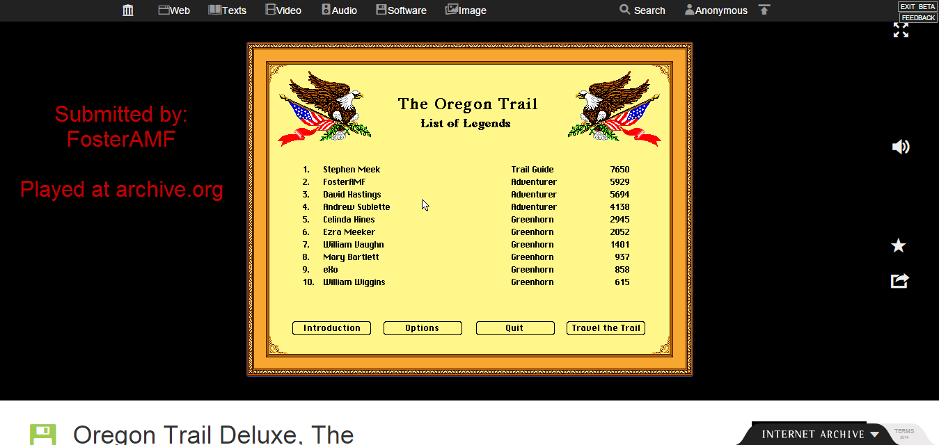 The Oregon Trail Deluxe 5,929 points