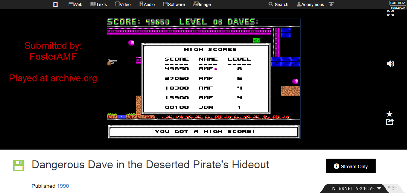 FosterAMF: Dangerous Dave in the Deserted Pirate