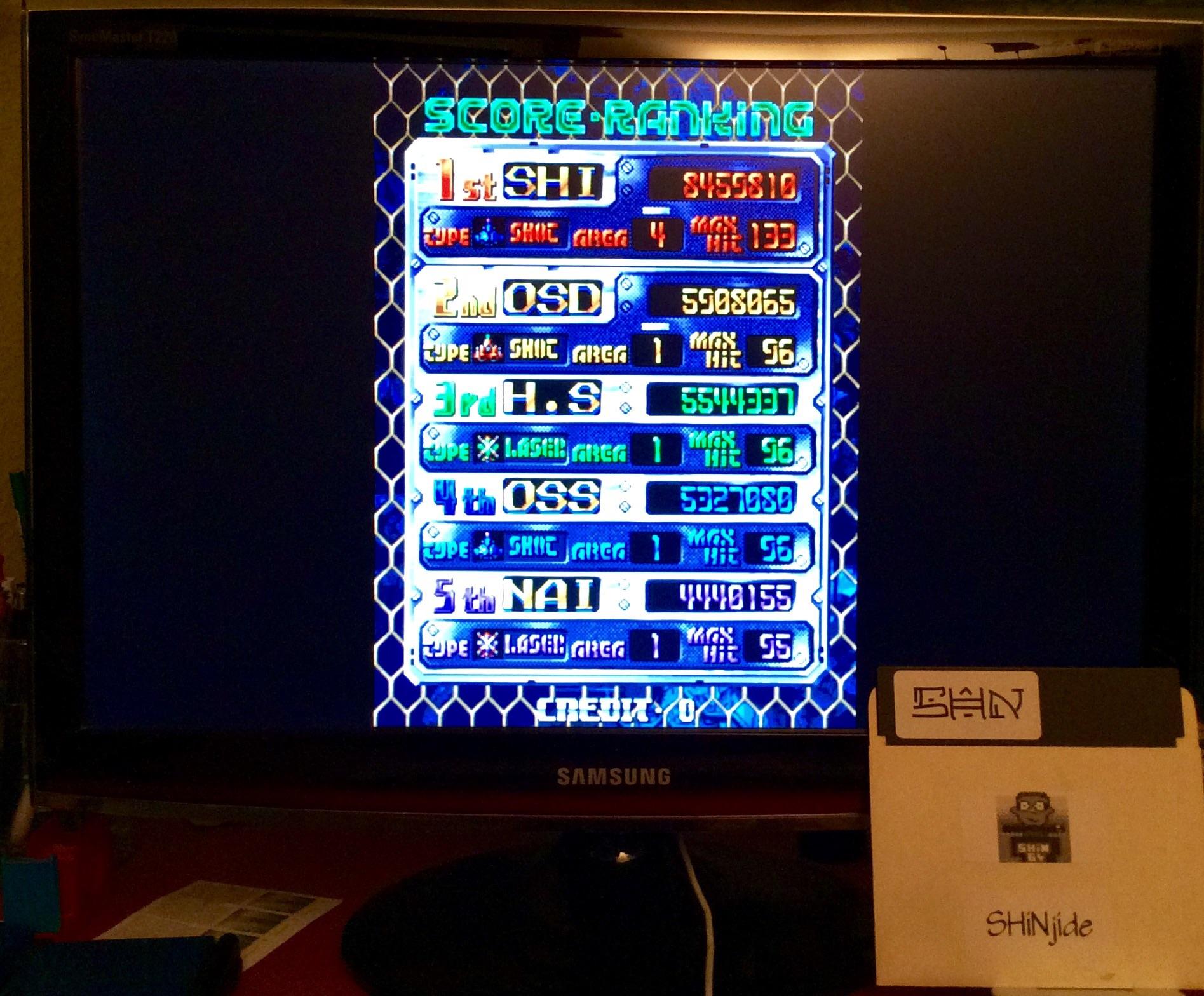 SHiNjide: DoDonPachi (Arcade Emulated / M.A.M.E.) 8,459,810 points on 2015-01-23 13:23:24