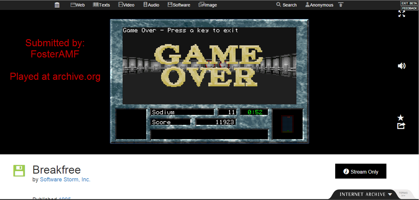 FosterAMF: Breakfree [Easy] (PC Emulated / DOSBox) 11,923 points on 2015-01-24 13:32:27