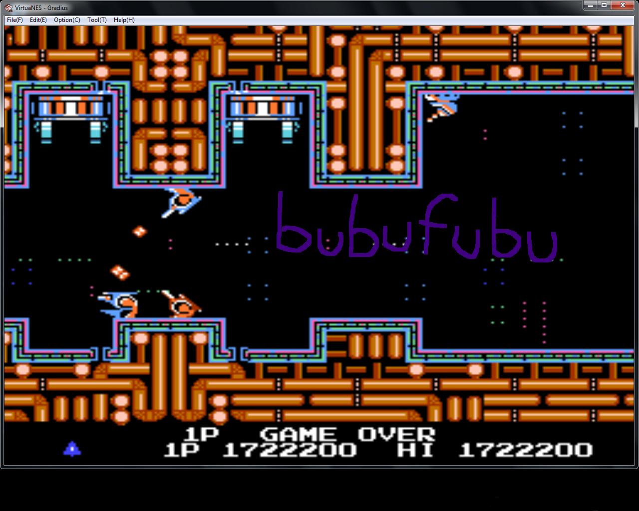 bubufubu: Gradius (NES/Famicom Emulated) 1,722,200 points on 2015-01-26 17:03:54