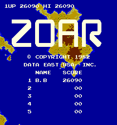 BarryBloso: Zoar [zoar] (Arcade Emulated / M.A.M.E.) 26,090 points on 2015-01-27 06:12:57