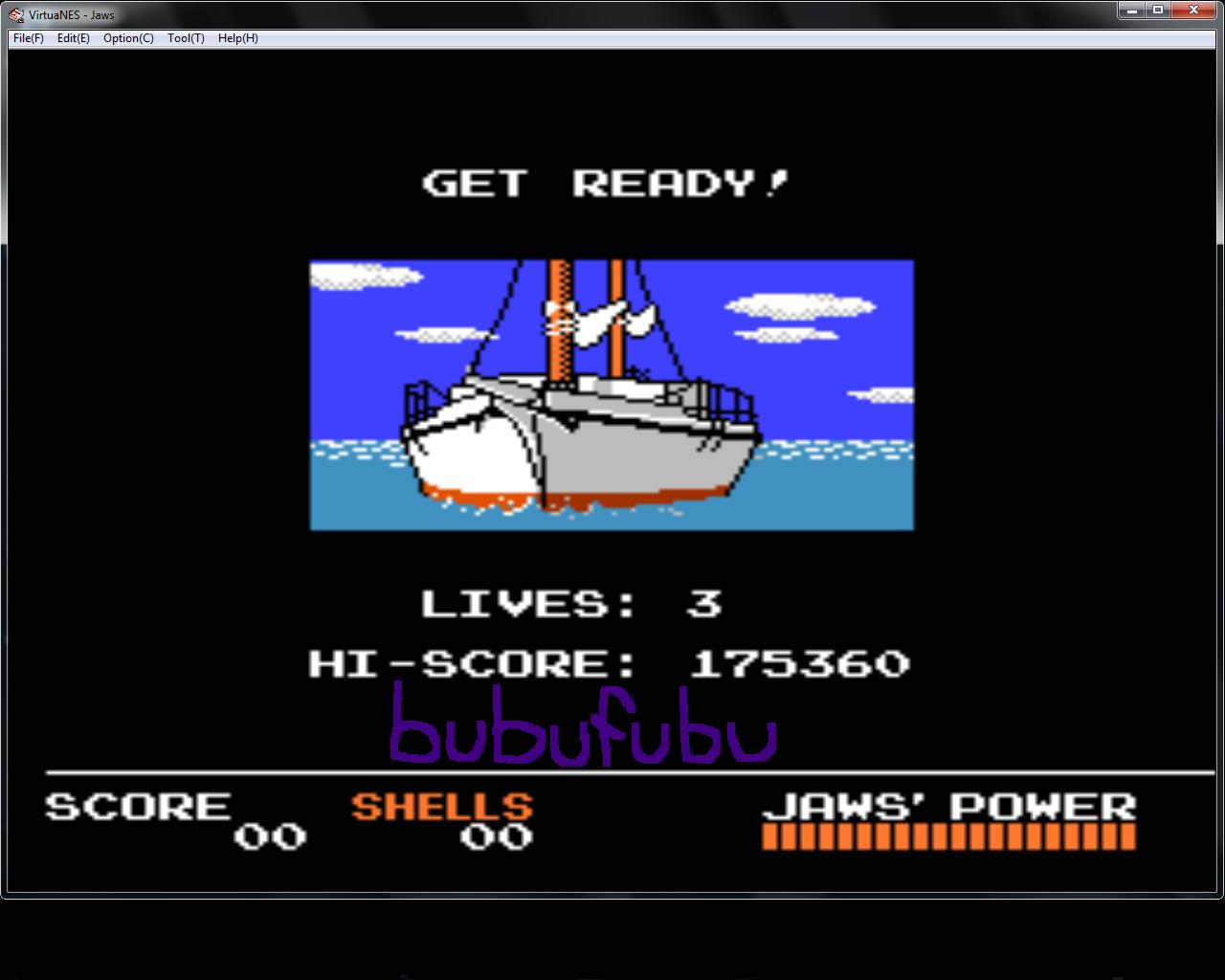 bubufubu: Jaws (NES/Famicom Emulated) 175,360 points on 2015-01-29 20:38:30