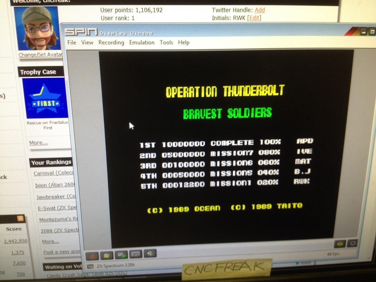 Operation Thunderbolt 12,200 points