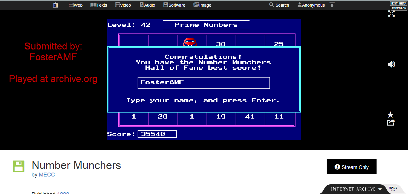 FosterAMF: Number Munchers: Primes [5th Grade Advanced] (PC Emulated / DOSBox) 35,540 points on 2015-01-30 16:13:30