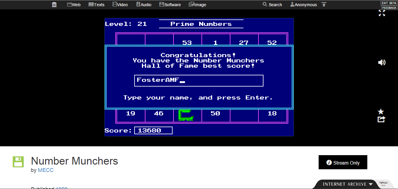 FosterAMF: Number Munchers: Primes [6th Grade Advanced] (PC Emulated / DOSBox) 13,680 points on 2015-02-01 15:03:17