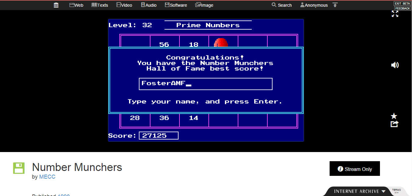FosterAMF: Number Munchers: Primes [7th Grade Advanced] (PC Emulated / DOSBox) 27,125 points on 2015-02-01 15:27:38