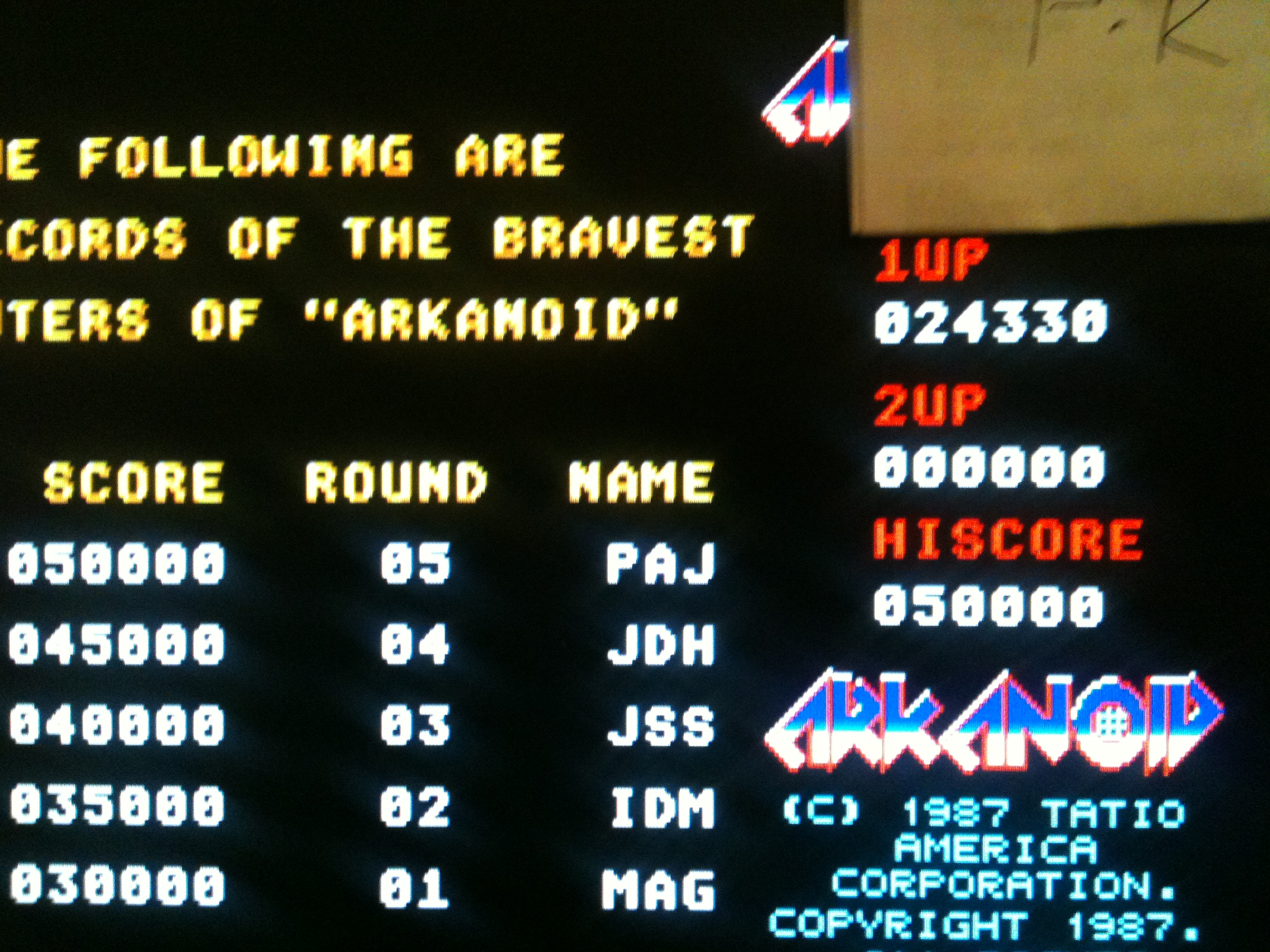 kernzy: Arkanoid (Atari ST Emulated) 24,330 points on 2015-02-02 10:12:42