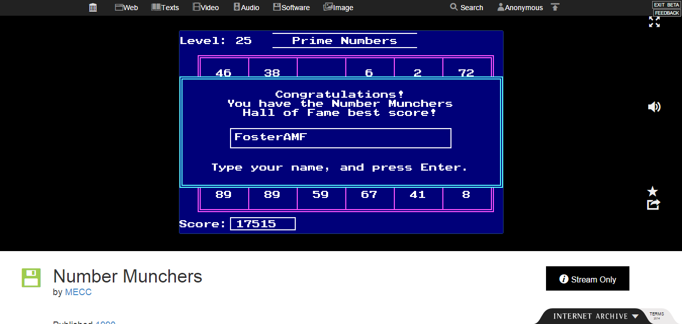 FosterAMF: Number Munchers: Primes [8th Grade and Above] (PC Emulated / DOSBox) 17,515 points on 2015-02-02 16:05:31