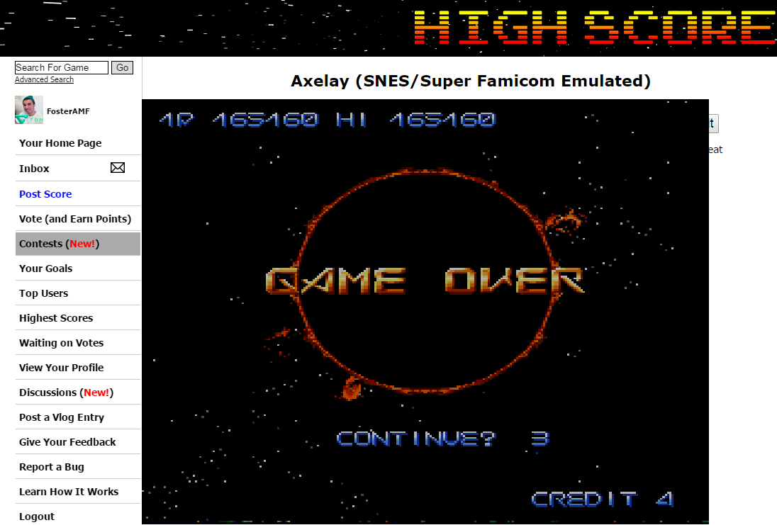 FosterAMF: Axelay (SNES/Super Famicom Emulated) 165,160 points on 2015-02-04 15:21:08