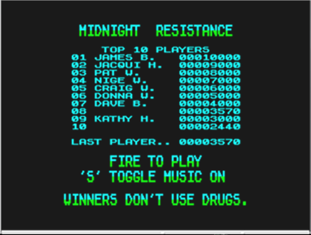 mechafatnick: Midnight Resistance (ZX Spectrum Emulated) 3,570 points on 2015-02-05 00:53:50