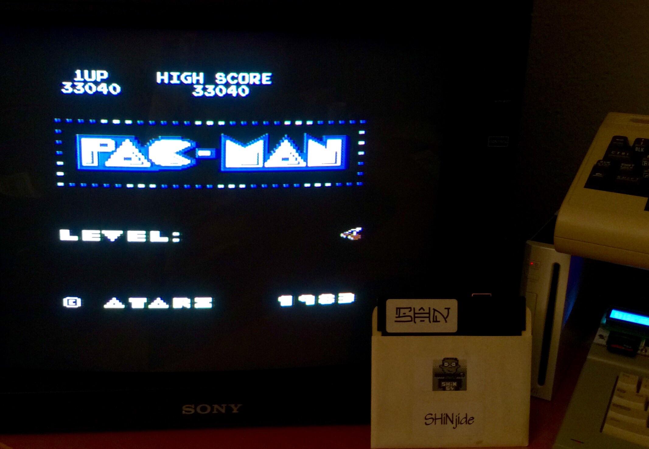SHiNjide: Pac-Man Arcade (Atari 400/800/XL/XE) 33,040 points on 2015-02-06 15:35:23