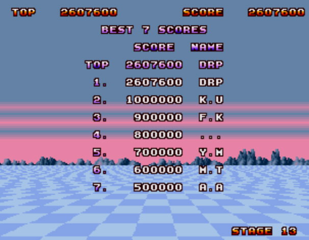 Space Harrier II 2,607,600 points