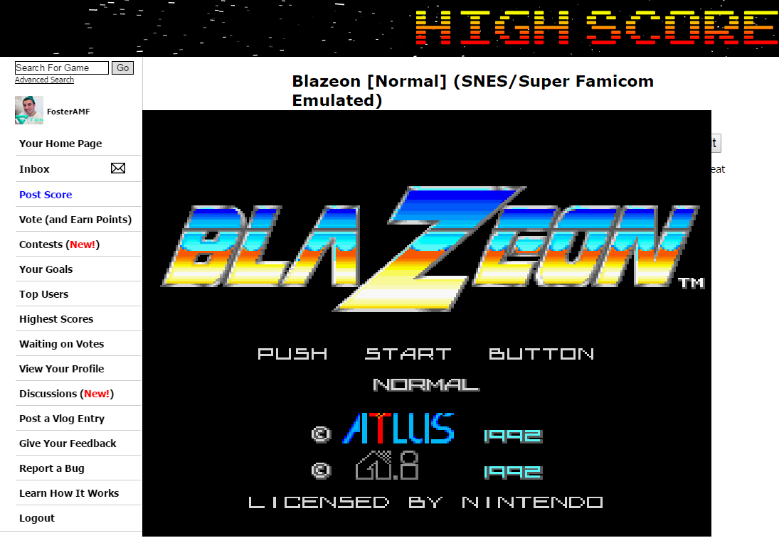 FosterAMF: Blazeon [Normal] (SNES/Super Famicom Emulated) 397,900 points on 2015-02-08 01:20:43