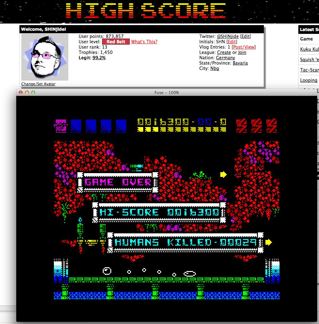 SHiNjide: Rex (ZX Spectrum Emulated) 16,300 points on 2015-02-13 02:58:06