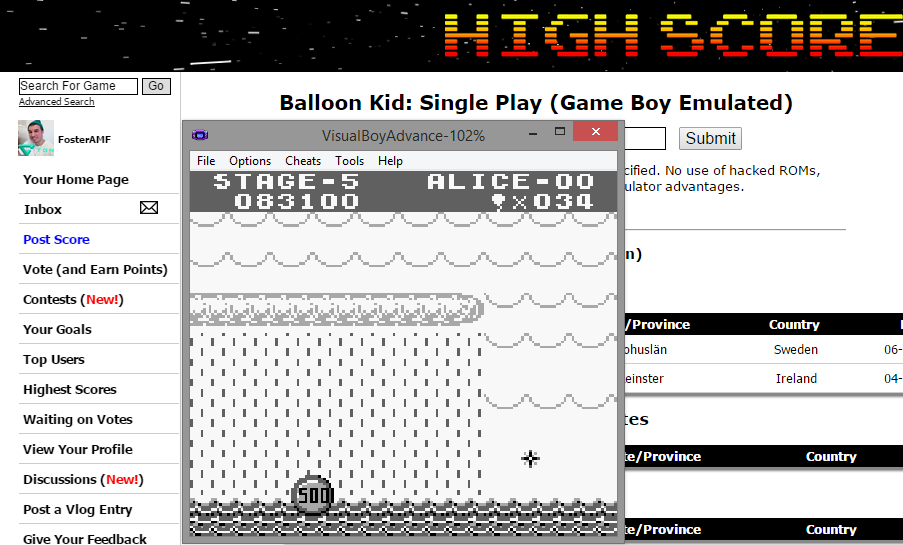 Balloon Kid: Single Play 83,100 points