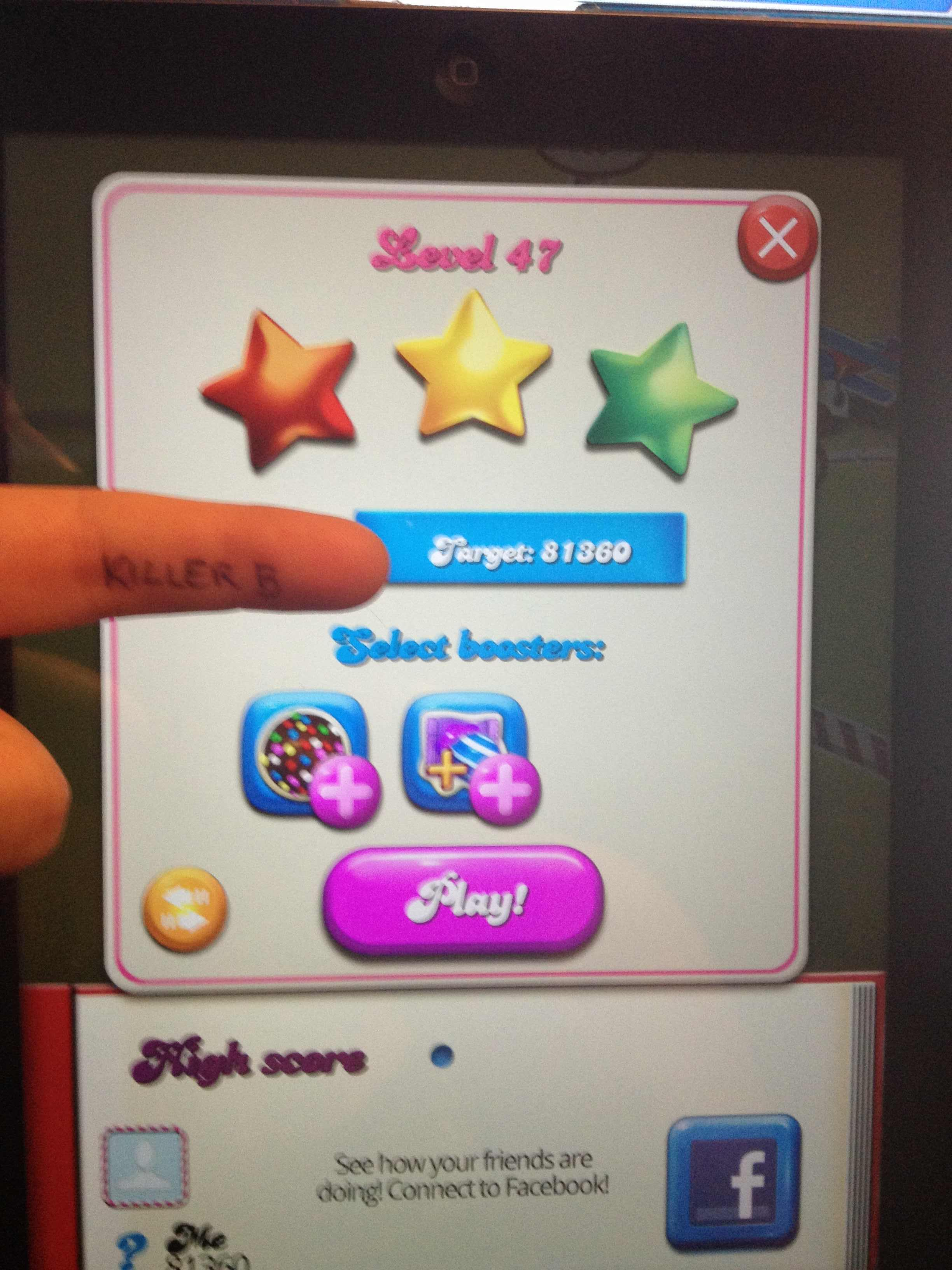 KillerB: Candy Crush Saga: Level 047 (iOS) 81,360 points on 2013-10-19 19:12:49