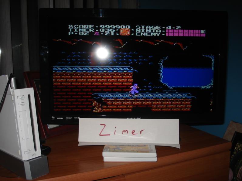 Zimer: Ninja Gaiden [Any Settings/Any Tactics] (Wii Virtual Console: NES) 999,900 points on 2015-02-16 11:46:31