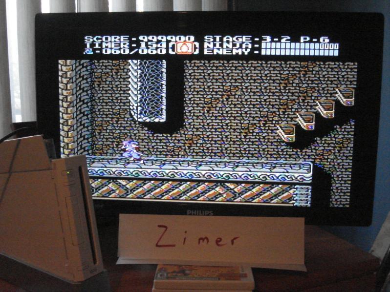 Zimer: Ninja Gaiden 2 [Any Settings/Any Tactics] (Wii Virtual Console: NES) 999,900 points on 2015-02-16 12:40:14