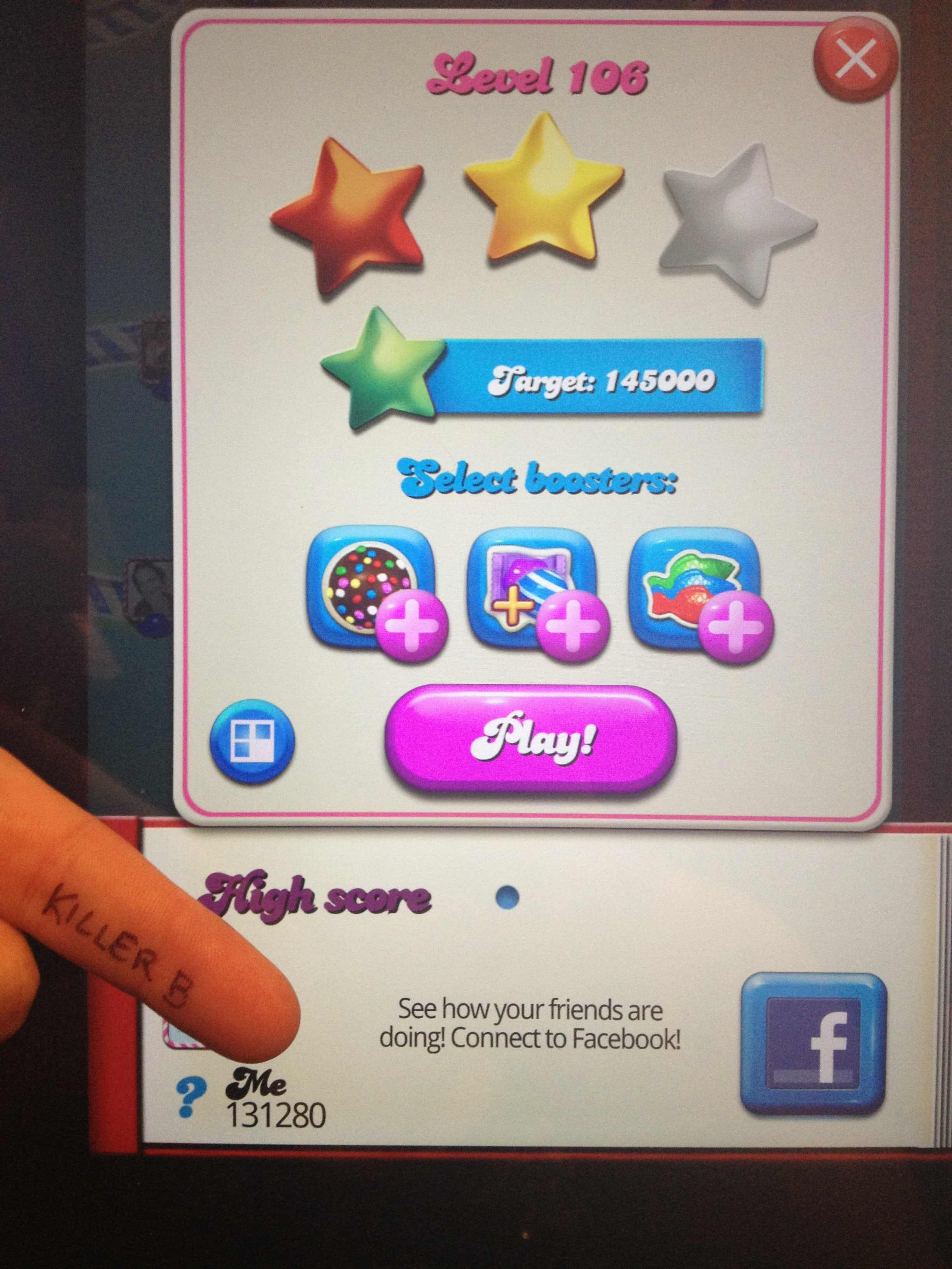 KillerB: Candy Crush Saga: Level 106 (iOS) 131,280 points on 2013-10-19 19:14:41