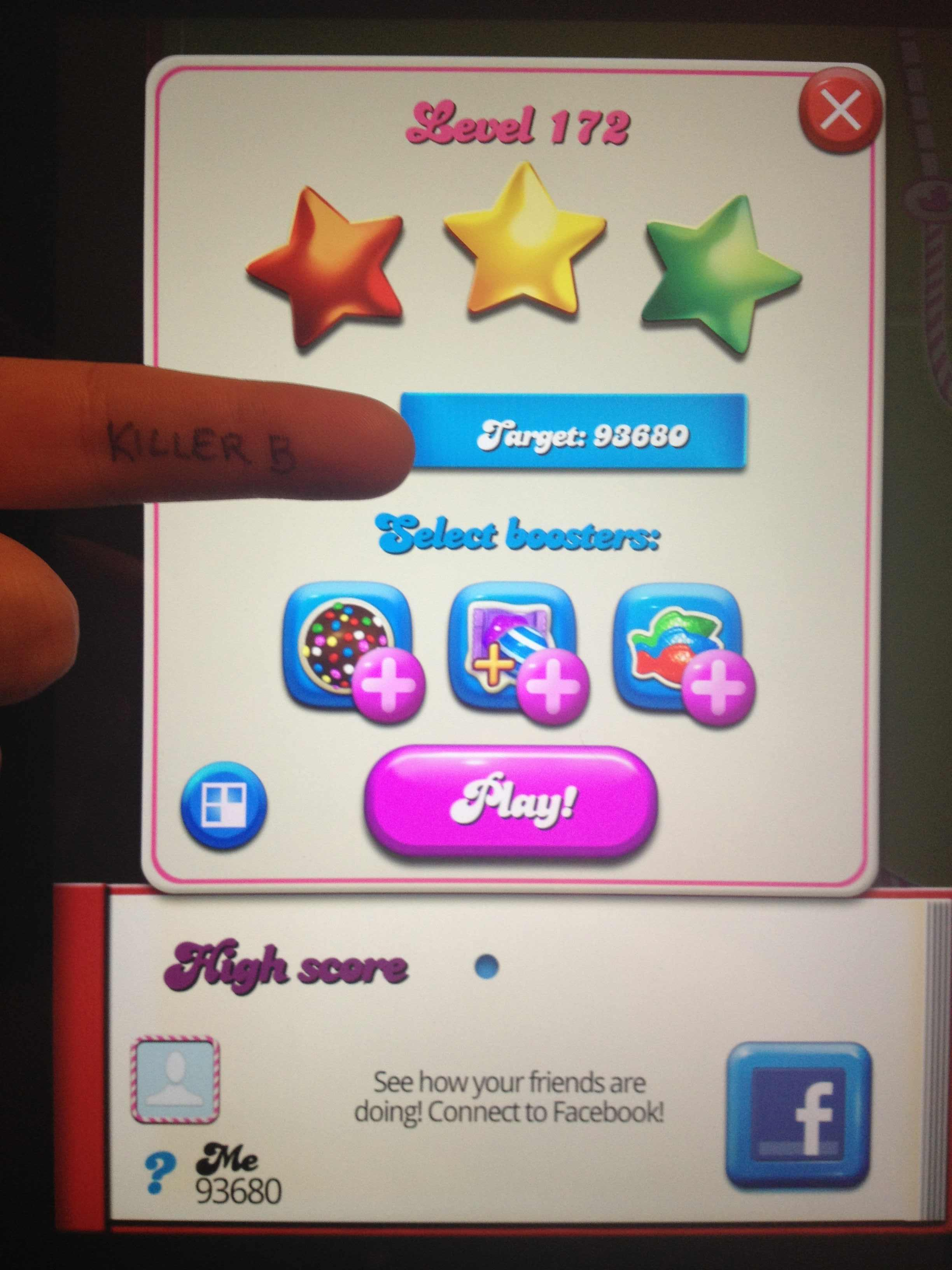 KillerB: Candy Crush Saga: Level 172 (iOS) 93,680 points on 2013-10-19 19:57:58