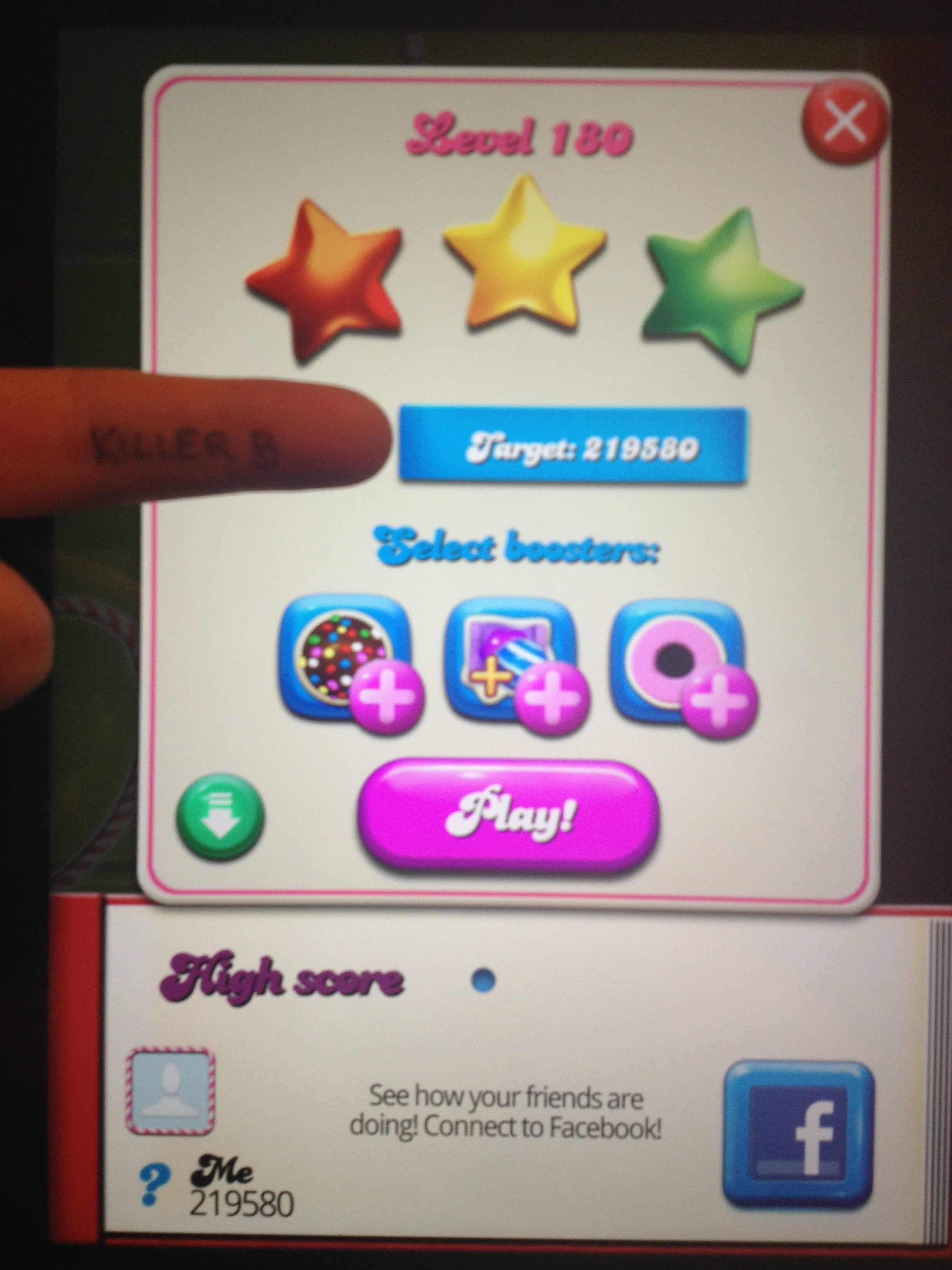 KillerB: Candy Crush Saga: Level 180 (iOS) 219,580 points on 2013-10-19 19:58:57