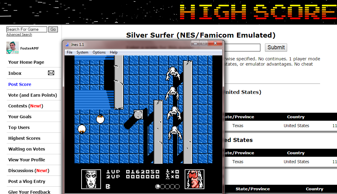 FosterAMF: Silver Surfer (NES/Famicom Emulated) 162,050 points on 2015-02-18 20:37:53