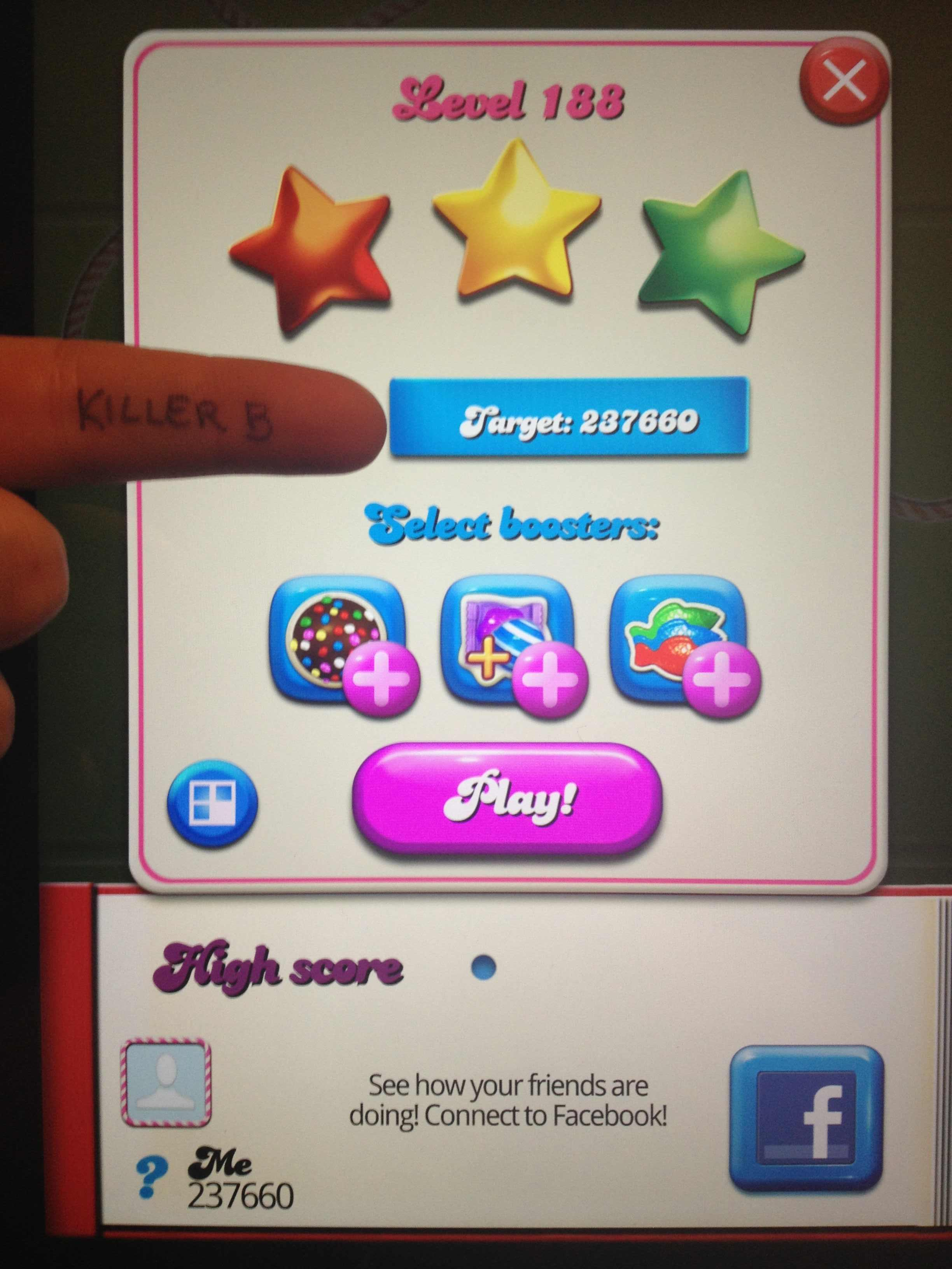 KillerB: Candy Crush Saga: Level 188 (iOS) 237,660 points on 2013-10-19 20:00:34