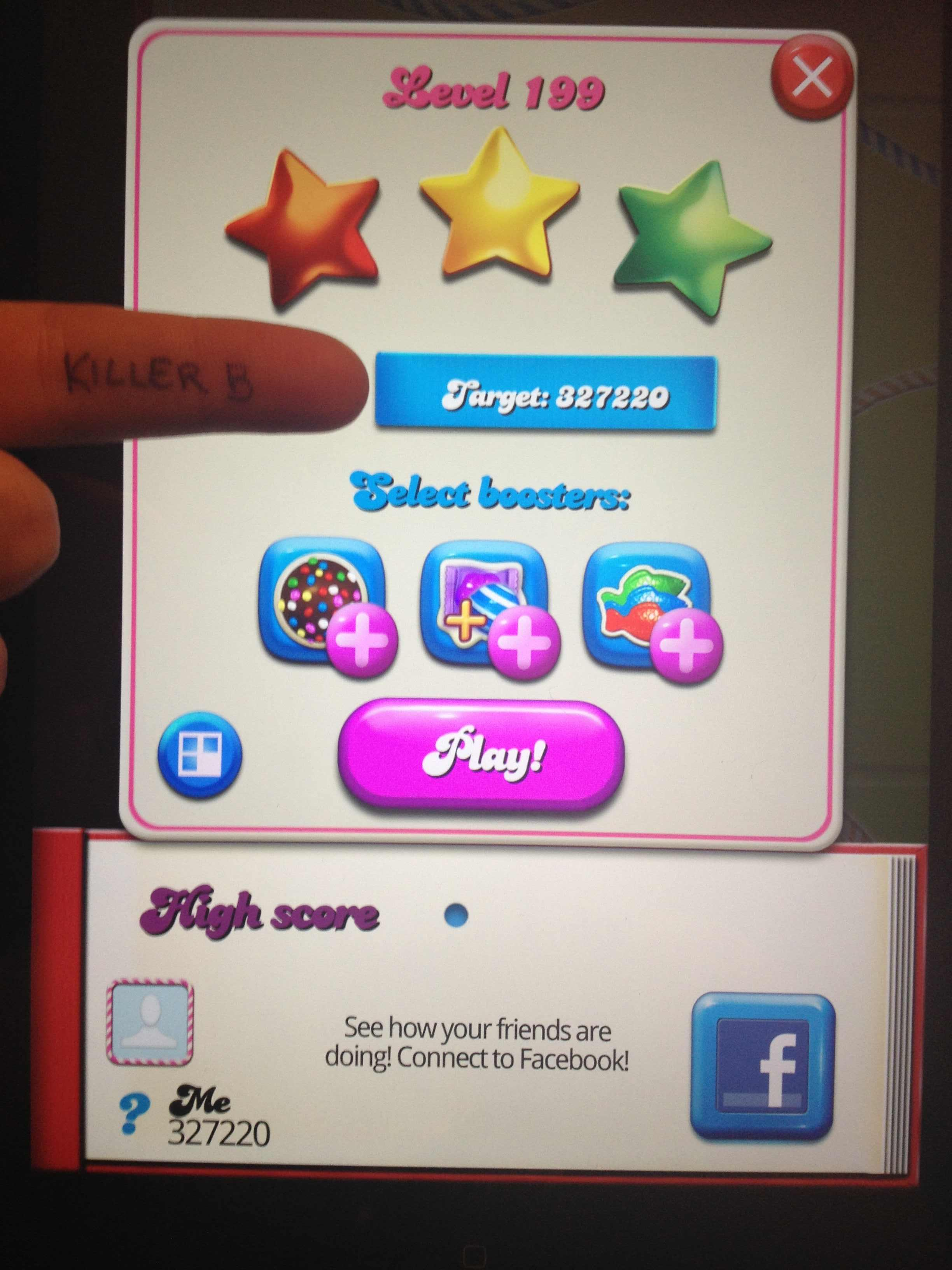 KillerB: Candy Crush Saga: Level 199 (iOS) 327,220 points on 2013-10-19 20:01:32
