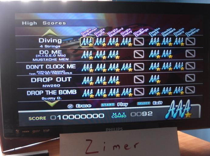 Zimer: DDR Extreme: Diving [Single/Beginner] (Playstation 2) 10,000,000 points on 2015-02-21 05:10:53
