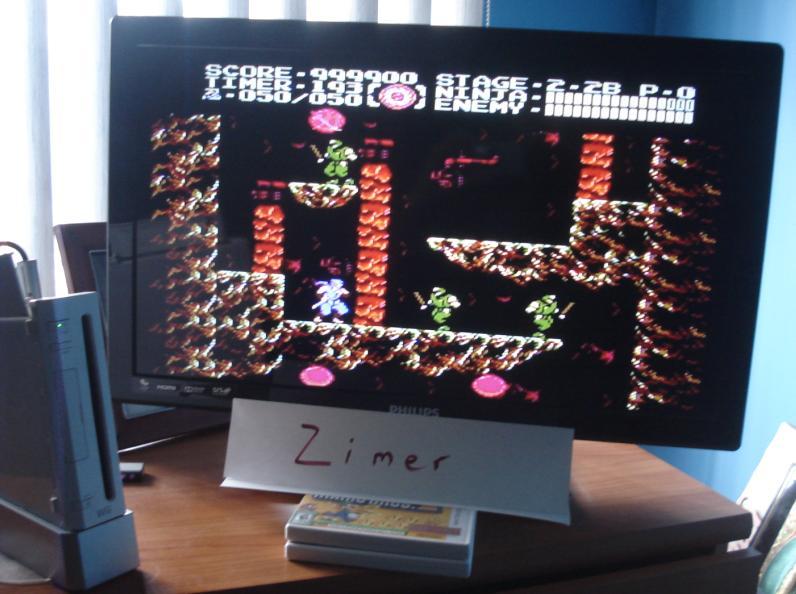Zimer: Ninja Gaiden 3 [Any Settings/Any Tactics] (Wii Virtual Console: NES) 999,900 points on 2015-02-21 05:17:21