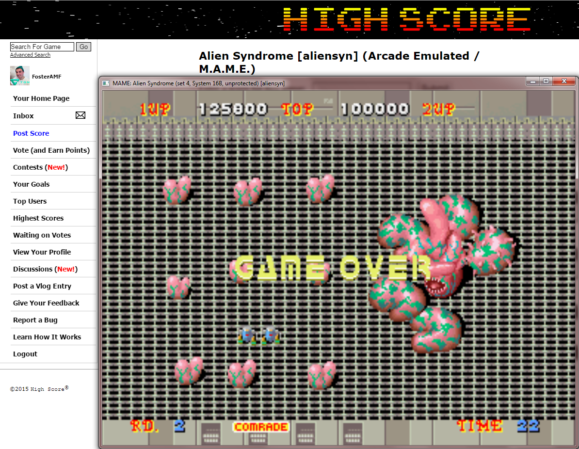 FosterAMF: Alien Syndrome [aliensyn] (Arcade Emulated / M.A.M.E.) 125,800 points on 2015-02-22 01:15:49