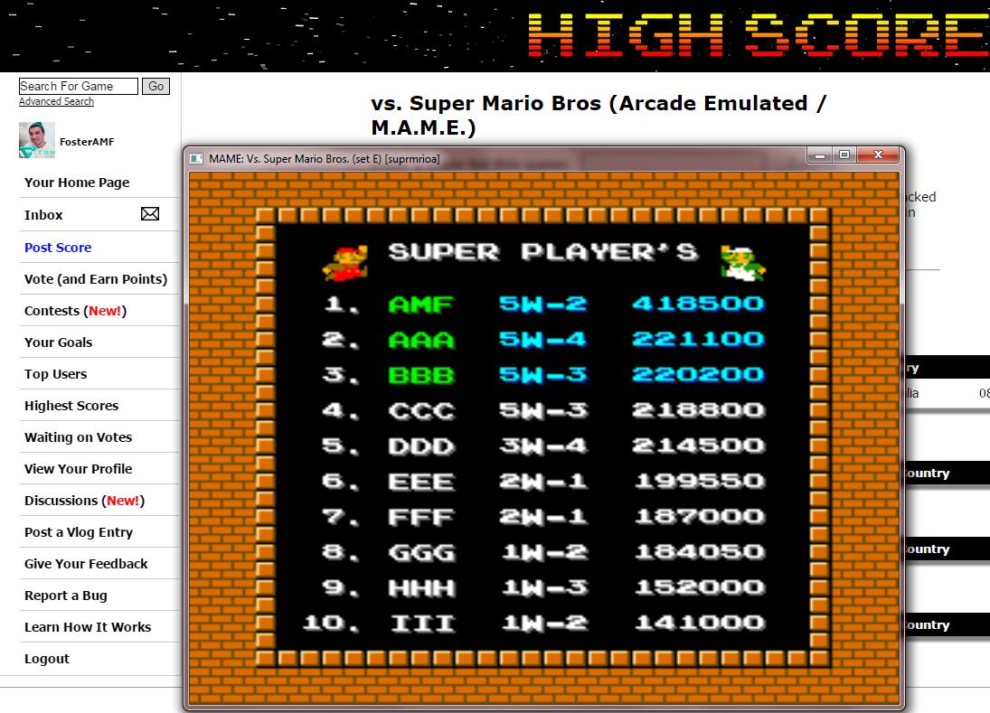 vs. Super Mario Bros 418,500 points