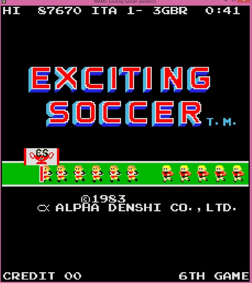 lenny2571: Exciting Soccer [exctsccr] (Arcade Emulated / M.A.M.E.) 87,670 points on 2015-02-22 11:49:06