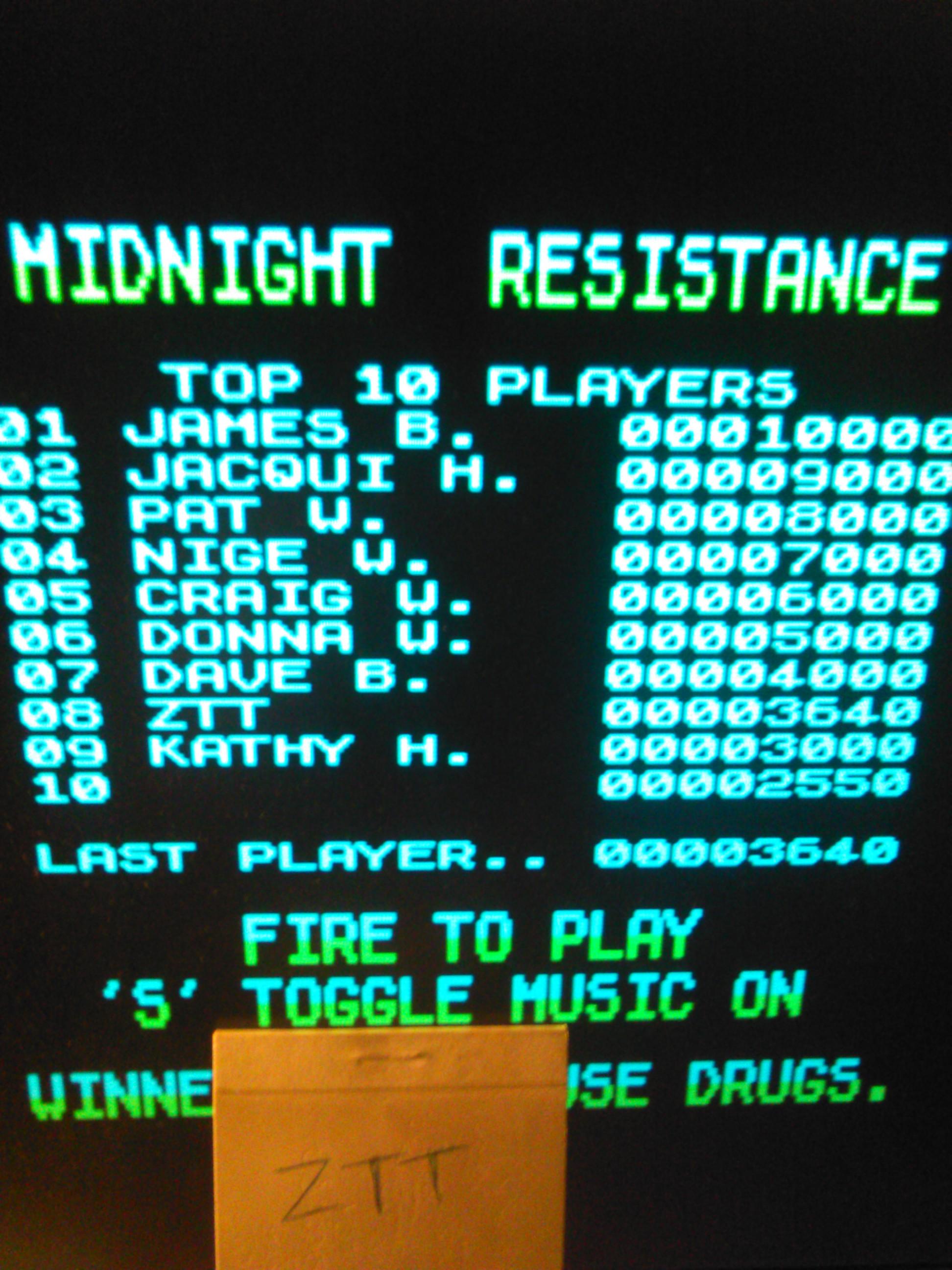 Midnight Resistance 3,640 points