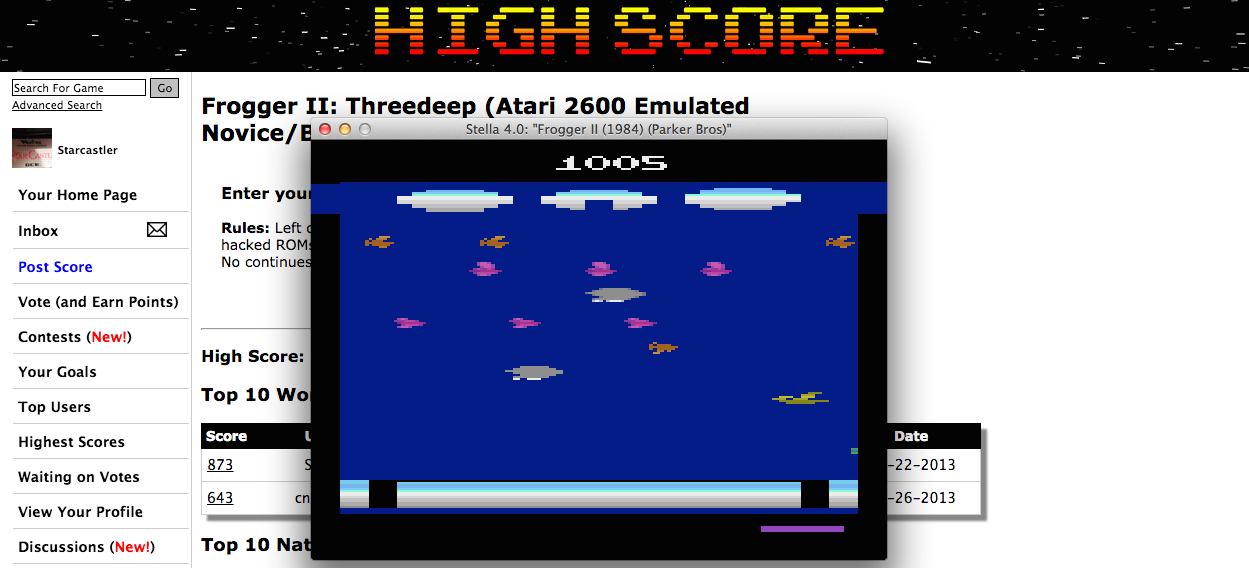Starcastler: Frogger II: Threedeep (Atari 2600 Emulated Novice/B Mode) 1,005 points on 2015-02-24 15:54:54