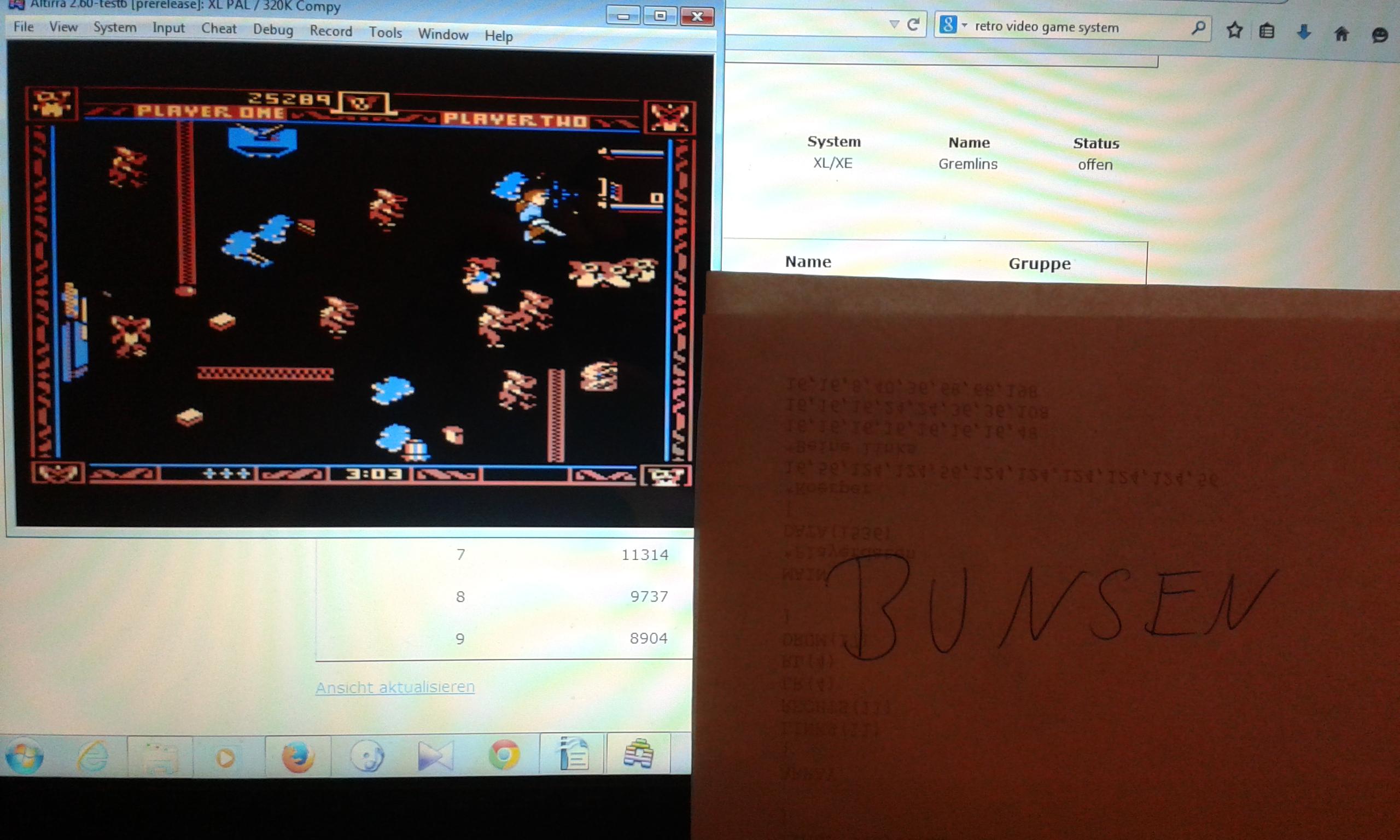 Bunsen: Gremlins (Atari 400/800/XL/XE Emulated) 25,289 points on 2015-02-25 15:03:05
