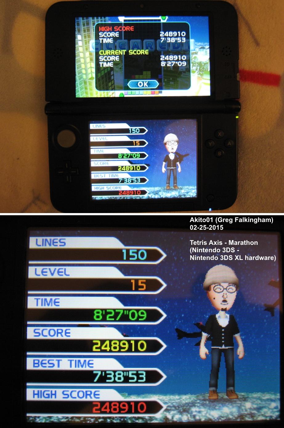 Akito01: Tetris: Axis [Marathon Mode] (Nintendo 3DS) 248,910 points on 2015-02-25 21:09:52