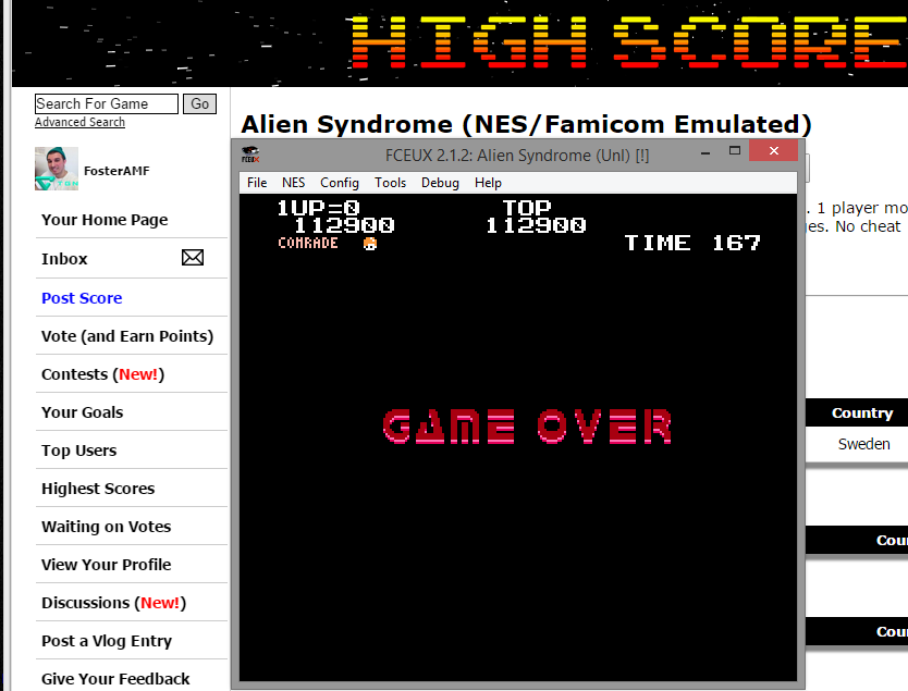 FosterAMF: Alien Syndrome (NES/Famicom Emulated) 112,900 points on 2015-02-26 20:48:34