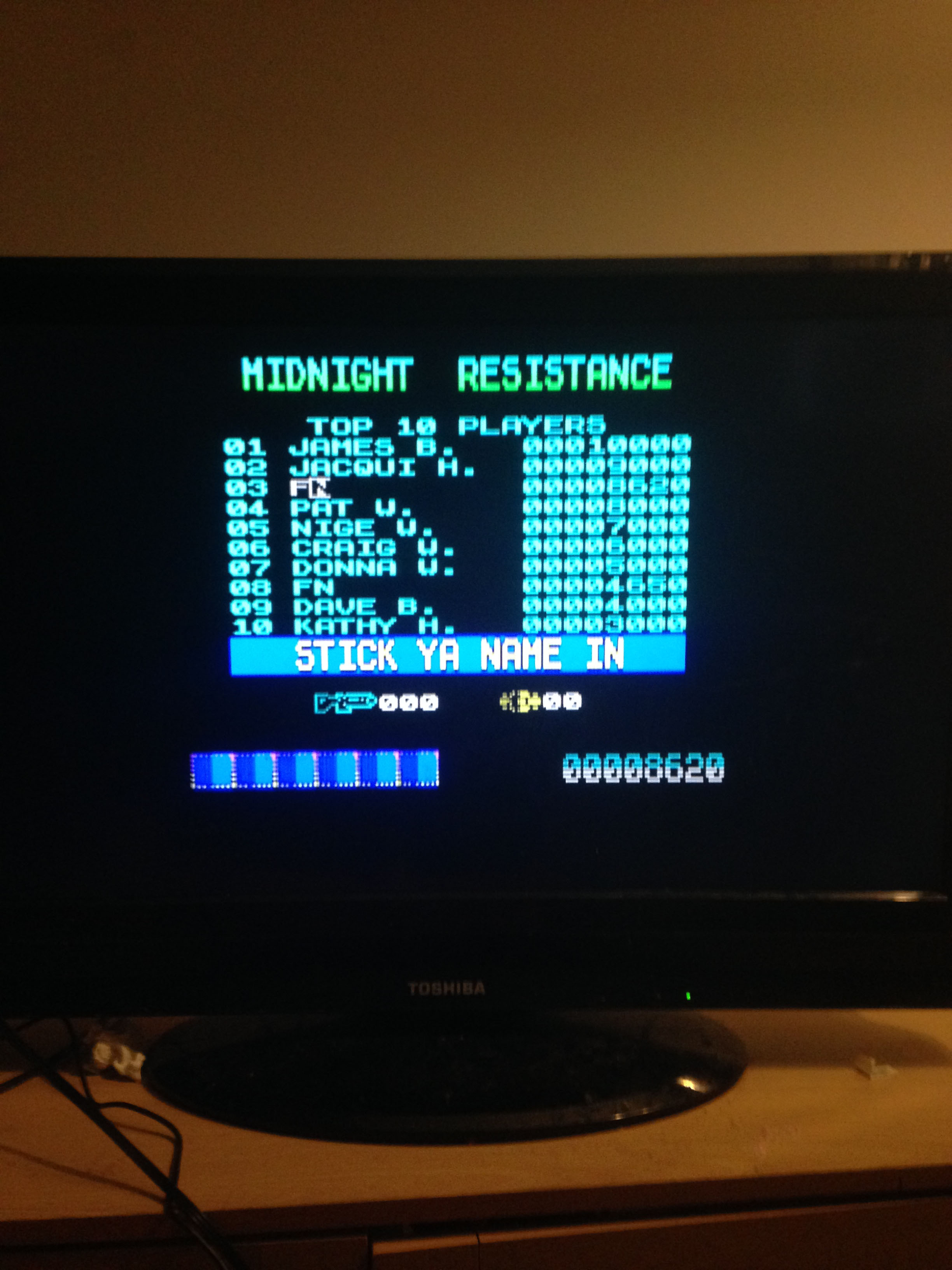 mechafatnick: Midnight Resistance (ZX Spectrum) 8,620 points on 2015-03-02 00:34:03